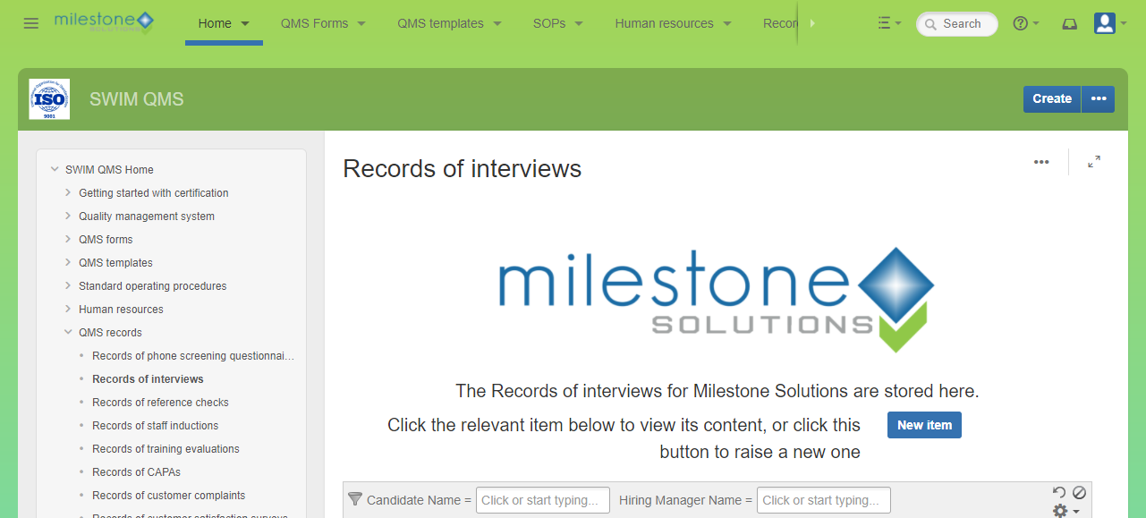 Milestone Solutions QMS - Designed for ISO 9001 Certification